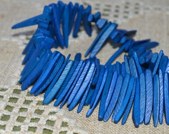 Dark Blue Sticks Wood Beads Top-Drilled Stick 25x4mm 16 Inches Coconut Palm