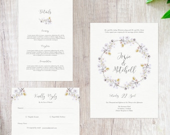 White Cherry Blossoms Wedding Set - Lovesick Paperie Instant Download - Customisable Invitation RSVP Details - Printable Wedding Invitations