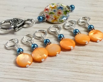 Butterfly Stitch Marker Holder Set - Snag Free Orange Stitch Markers - Gift for Knitters