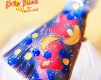 new SAILOR MOON 2.0 by NOVA polish - Moon, Sailor Senshi, White Jelly, Glitter Topper, Nail Art, Kawaii Nails, Sailor Moon Cosplay, Indie