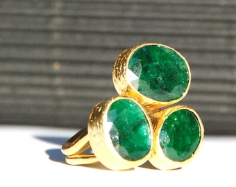 Trio Emerald Ring (made to order)