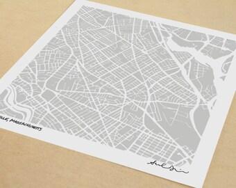 Somerville Map, Hand-Drawn Map Print of Somerville Massachusetts