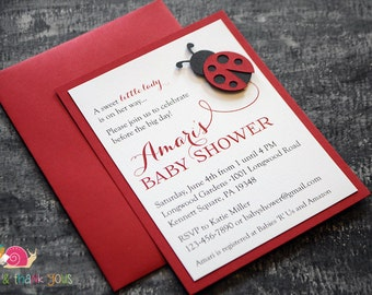 Ladybug Baby Shower Invitations · A2 LAYERED · Red and Black · Little Lady Baby Shower | Spring | Birthday Party