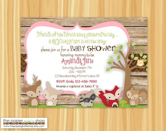 Woodland Creatures Baby Shower Invitation | Woodland Creatures It's a Girl Baby Shower | Rustic Woodland Creatures Invitation | Baby Girl