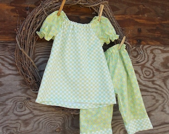 Girls Outfit, Kids Outfit, Girls Green Outfit, Girls Spring Set, Girls pants and top