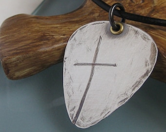 Ol' Rugged Cross Guitar Pick Style Men's Necklace- Solid Sterling Silver, can be stamped on back