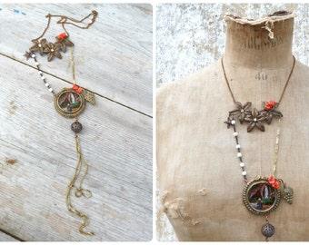 """Virgin Apparition long sautoir necklace with  Lourdes handpainted """"fixe sous verre"""" medaillion  golden chains fringes & Antique glass paste"""