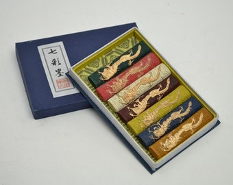 Free Shipping Chinese Calligraphy Material  Hu Kaiwen Colored Tung Oil Soot Ink Stick Ink Block Set / Seven Dragons - 217g- 0009T