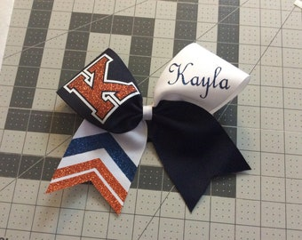 "3"" Personalized custom Texas Size Cheer bow - single layer flip - single end trimmed -  squad discounts - purple white"