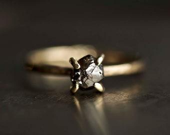 Rough Diamond Engagement Ring. Raw Diamond Ring. Brown Diamond Ring. Raw Brown Diamond Ring. Gold Diamond Engagement Ring.