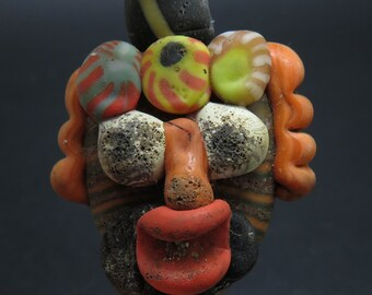 Museum Quality AMAZING Authentic Ancient Phoenician Glass Face Bead - Pendant - Circa 300 BC - Very Cool comes with COA !!!