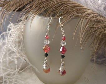 Red Crystal Briolette Earrings