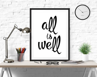 Typography Poster All Is Well Motivational Print Inspirational Poster Wall Art Typography Poster Motivational Art Typography Printable
