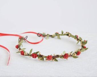 Red Gold Green Flower Crown, leafy flower crown, red gold flower wreath, winter wedding, circlet, flowergirl garland, bridal flower crown