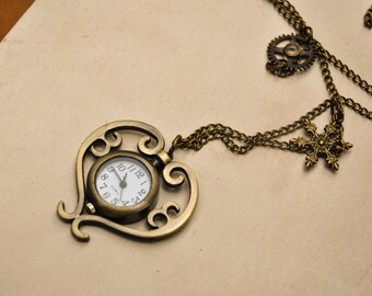 Steampunk Watch Pendant Necklace, Steampunk Jewelry, Jewelry Watch, Gothic Pendant, Watch Parts, Industrial Pendant, Steampunk Heart Watch