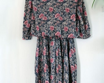 80s Pink Blue Green Floral Flower Print Day Dress. US 12, UK 14-16