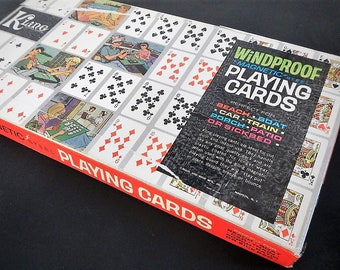 Vintage Kling Magnetic Steel Playing Cards - windproof - 1960s - Regal & Wade Mfg. Inc., deluxe model no. 55, travel, beach,boat,car,sickbed