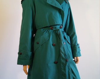 80's Women's Trench Turquoise Blue Green All Weather Canadian Trench Coat Jacket by KARIZMA Size 12