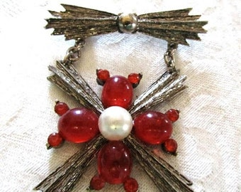 SPRING SALE - Red Cabochon Maltese Cross with Faux Pearl, Brooch, Pin, Military Medal Style, 80s, Silver Tone Metal
