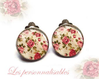Clip earrings wild roses clip 18mm glass dome