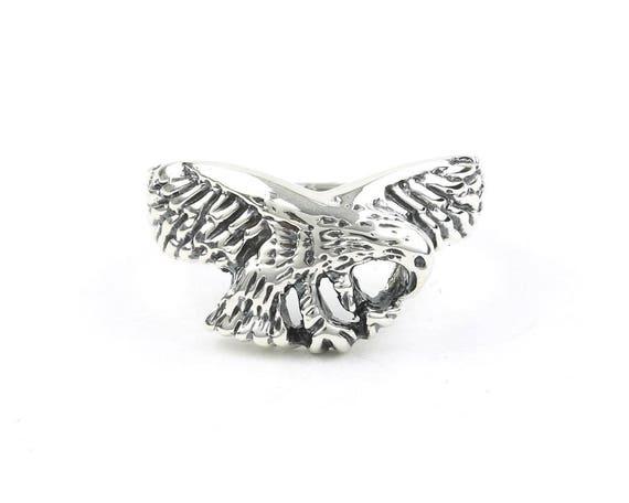 Sterling Silver Eagle Ring, Bird, Biker Jewelry, Motorcycle Jewelry, Boho, Bohemian, Gypsy, Festival Jewelry, Animal Jewelry