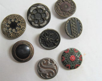 """8 Antique Metal Sewing Buttons, Vintage Mixed Lot Victorian Edwardian, 1 1/8"""" + 7/8"""", Loop & Self Shank, Steel, Copper, 1890's to 1900's"""