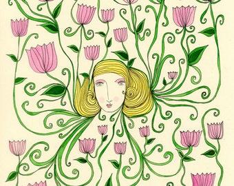Sweet Tendrils-Floral Print, Botanical Print, Flower Print, Art Print