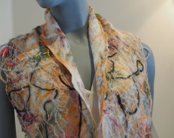 Felted woman bright scarf