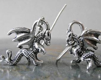 Dragon earrings, silver dragon earrings, Medieval style 3D mystical dragon slayer gothic flying winged beast animal myth symbol dragon draak
