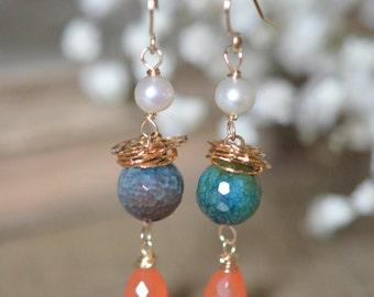Carnelian, Freshwater Pearl and Agate Dangle Earrings