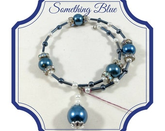 Blue and White Pearl Memory Wire Bracelet, Blue and White Pearl Coil Bracelet, Blue and White Pearl Beaded Bracelet, Pearl Wrap Bracelet