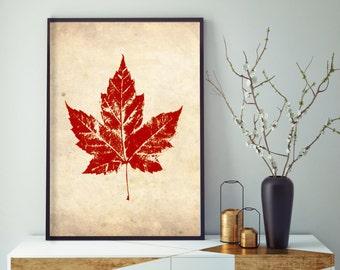Vintage Red Maple Leaf, Maple Leaf Wall Decor, Fall Wall Decor, Minimalist Wall Decor, Digital Download Wall Decor, Printable Wall Art