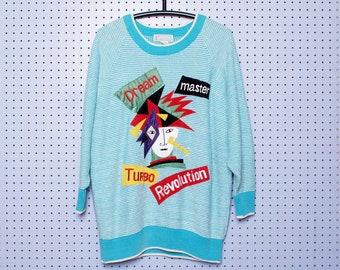 Vintage 80s AVANT GARDE Knit Sweater 'Dream Master Turbo Revolution' Applique Embroidery