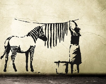 Urban wall art etsy banksy wall decal zebra stripes laundry street art sticker urban wall art vinylart gumiabroncs Images
