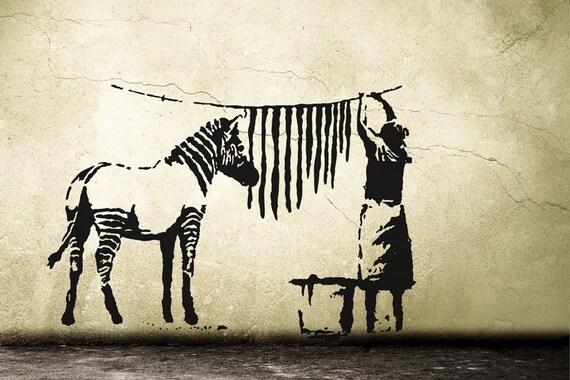Banksy wandtattoo zebra waschstation wandsticker streetart - Wandtattoo banksy ...