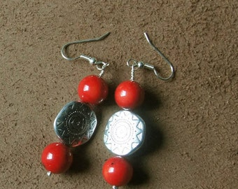 """Earrings coral plant and Tibetan bead, from the collection """"Distant Asia"""", mounted on clips, hooks or Leverback"""