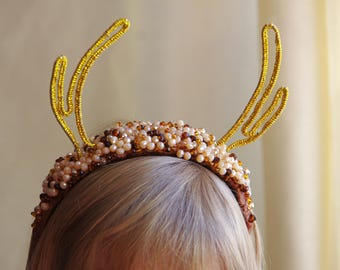 Forest Fawn Deer Antler Flower Crown Accessory Headband