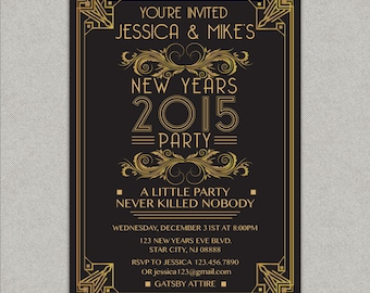 Great Gatsby New Years Eve party invitation - black and gold - Printed or DIY