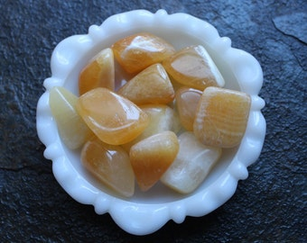 Orange Calcite -Tumbled Stone - Large