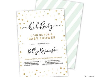 Gold Baby Shower Invitation - Baby Shower Invitation, Invites, Gold and White