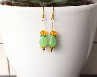 Jade and Amber Drop Earrings