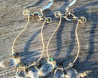Wire Hoop and Crystal Dangles