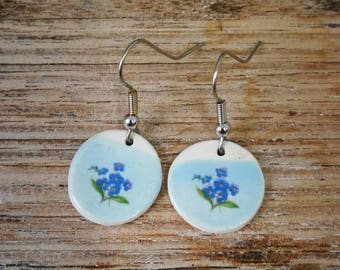 Ceramic dangly earrings with vintage blue flower image on pastel blue background,shabby chic, retro,