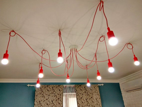 Red chandelier with 10 tails ceiling octopus or spider aloadofball Choice Image