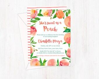 peaches invitations, peach party invites, sweet as a peach, peach birthday, Georgia Peach, girl birthday party, peach birthday invites
