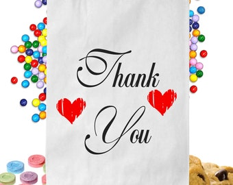 24  Personalized Red Heart Thank You Candy Table Treat Bags Wedding Favor Bags Candy Buffet