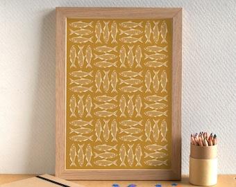 Fish Print - Sardine Print - Kitchen Art - Kitchen Print - Food Art - Food Print - Sardines Print - Fish Art - Gift for Foodie