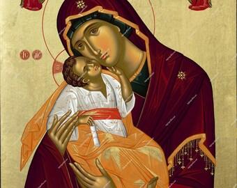 Virgin Mary Glikofilousa | Byzantine Christian Orthodox Icon on Wood