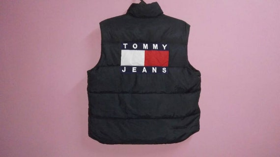 zipper big embroidery puffer Vintage jacket hilfiger logo vest down large sleeveless XL size tommy up 0wvHS