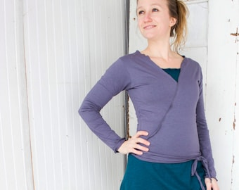 Long Sleeve Crop Wrap Top - Many Colors Available - Organic Cotton Blend